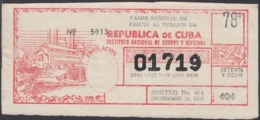 LOT-358 CUBA LOTTERY. 1966. SORTEO 404. DICIEMBRE 24. - Lottery Tickets