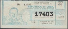 LOT-360 CUBA LOTTERY. 1965. SORTEO 301. ENERO 3. MANOLO DURFAN FERNANDEZ. - Lottery Tickets
