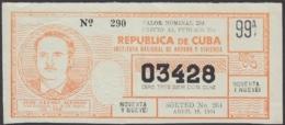LOT-363 CUBA LOTTERY. 1964. SORTEO 264. ABRIL 18. JOSE LEFONT ALFONSO. - Lottery Tickets