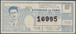 LOT-364 CUBA LOTTERY. 1964. SORTEO 259. MARZO 14. ANTONIO ÑICO LOPEZ. - Lottery Tickets