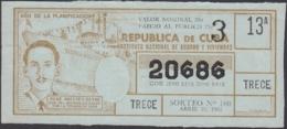 LOT-366 CUBA LOTTERY. 1962. SORTEO 259. MARZO 21. RENE ORESTES REYNE. - Billetes De Lotería