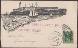 POS-1071 CUBA POSTCARD. 1902. MORRO CASTLE RARE POSTCARD TO FRANCE. - Cuba