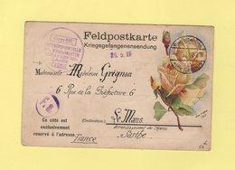 Camp Des Prisonniers De Guerre A Cassel - Allemagne - 6-10-1914 - Carte En Franchise Illustree Rose - Destination Sarthe - Guerre De 1914-18