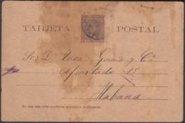 1894-EP-10 CUBA SPAIN ESPAÑA. 1894 2c POSTAL STATIONERY CARDENAS TO HAVANA. - Cuba
