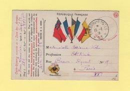 Carte FM Drapeaux - Tresor Et Postes 93 - 16-1-1915 - Guerre De 1914-18