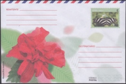 2018-EP-48 CUBA 2018 UNUSED INTERNACIONAL POSTAL STATIONERY. MARPACIFICO FLOWER, MARIPOSA, BUTTERFLIES. - Cuba
