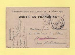 Troupes Francaises En Belgique - 30-12-1914 - Carte En Franchise - Oost Duinkerke Pour Viarmes Seine Et Oise - Guerre De 1914-18