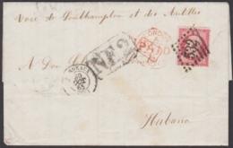 PREFI-690 FRANCE COVER TO CUBA. MARITIME MAIL. 1865. 80c NE2. - Cuba