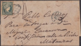 1856-H-61 CUBA SPAIN ESPAÑA. ISABEL II. 1856. 1/2 REAL. SOBRE PRIVADO DE LA HABANA A MATANZAS. - Cuba