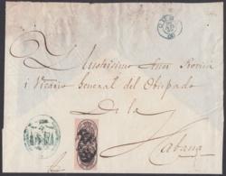 1858-H-202 CUBA SPAIN ESPAÑA. OFFICIAL MAIL. 1858. 1 ONZA. SANTIAGO DE CUBA A LA HABANA. - Cuba