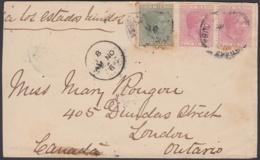 1884-H-54 CUBA SPAIN ESPAÑA. ALFONSO XII. 1884. 2c ROSA. SOBRE A CANADA, 1888. - Cuba