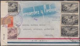 1931-H-91 CUBA REPUBLICA. 1931. AIR COVER WWII BILBAO CENSORSHIP POSTMARK TO ASTURIAS. - Cuba