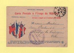 Carte FM Drapeaux - Place De Verdun - Destination Compiegne - 1915 - Guerre De 1914-18