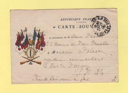 Carte Souvenir - Drapeaux - En Franchise Pour Le Fort De Dugny - Versailles - 27 Juin 1916 - Guerre De 1914-18