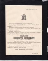 LIBIN Henriette DUVIGNEAUD Veuve DOUNY 65 Ans 1895 Famille DEBOUCHE DE COSTER - Overlijden