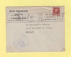 Etat Francais - Ministere De L'Information - Francisque - Neuilly Sur Seine - 1942 - Type Petain - Marcophilie (Lettres)
