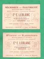02 Aisne Soissons Et  Braine  Lot De 2 Cartes De Visite Moteurs Electriques Leblanc (format 8cm X 12cm) - Cartes De Visite