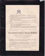 ANDENNE DINANT Félix BRIBOSIA 1819-1896 Président Honoraire Du Tribunal De Dinant  Famille De LATHUY Service à LEFFE - Overlijden