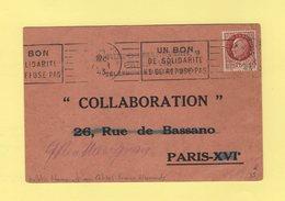 Bulletin D Abonnement Aux Cahiers Franco Allemands - Collaboration - Type Petain - 8 Fevrier 1943 - Directeur Du Lido - Marcophilie (Lettres)