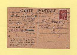 Carte Postale Commande De Combustible - Paris - 17 Octobre 1942 - Type Petain - Marcophilie (Lettres)