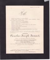 BURDINNE Nicolas JAMART Veuf STASSE 97 Ans 1909 Ancien Juge De Paix Suppléant Canton D'Avennes - Overlijden