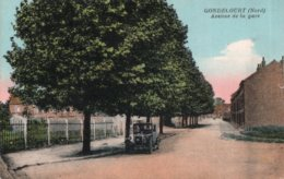 """CPSM   59   GONDECOURT---AVENUE DE LA GARE---"""" VOITURE TRES ANCIENNE """" - Otros Municipios"""