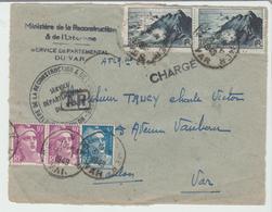 """VAR : """" TOULON """" CàD Type A6 / LSC CHARGEE ( Dev.) De 1949 Pour Toulon TB - Marcophilie (Lettres)"""
