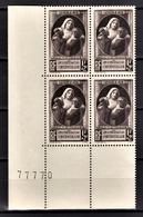 FRANCE 1940 - BLOC DE 4 TP / Y.T. N° 465 - NEUFS** COIN DE FEUILLE - France