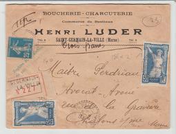 """MARNE: """" BOUCHERIE CHARCUTERIE H. Luder à St Germain La Ville """" Type B3 / LSC CHARGEE De 1924 Pour Chalons  TB - Marcophilie (Lettres)"""