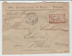 """INDRE & LOIRE: """" TOURS """" CàD Type A3 / LSC CHARGEE De 1904 Pour Bléré TB - Marcophilie (Lettres)"""