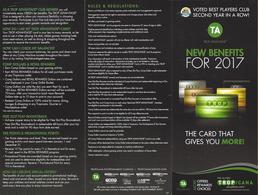 Tropicana Casino - Atlantic City, NJ - Paper 2017 Slot Card Benefits Brochure - Folded 9x4 Inches - Casino Cards
