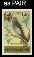 SIERRA LEONE 1980 Birds Grey Parrot 10c Imp.1983 No WMK IMPERF.PAIR - Oies