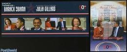 Tuvalu 2011 Barack Obama Meets Julia Gillard 2 S/s, (Mint NH), History - American Presidents - Politicians - Tuvalu