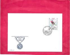 LIECHTENSTEIN - Enveloppe Premier Jour - 2 Décembre 1991 - ALBERVILLE 1992 Le Hockey Sur Glace - - Liechtenstein