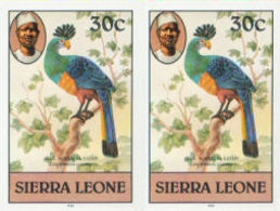 SIERRA LEONE 1980 Birds Great Blue Turaco 30c Imp.1982 Wmk CA IMPERF.PAIR - Coucous, Touracos