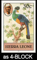SIERRA LEONE 1980 Birds Great Blue Turaco 30c Imp.1982 Wmk CA IMPERF.4-BLOCK - Coucous, Touracos