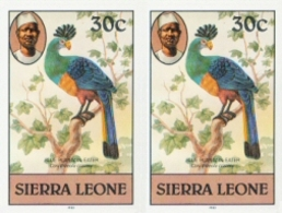SIERRA LEONE 1980 Birds Great Blue Turaco 30c Imp.1983 No Wmk IMPERF.PAIR - Coucous, Touracos