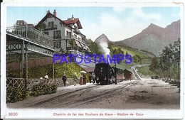 106505 SWITZERLAND RAILROAD RAILWAY OF NAYE STATION TRAIN CAUX POSTAL POSTCARD - Suisse