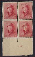 Nr. 168 (of 168A) In Blok Van 4  2 X ** MNH En 2 X * MH En Met Plaatnummer 6 In Goede Staat ; Zie Ook Scan ! - 1919-1920 Roi Casqué