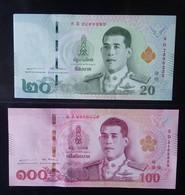2017? Thailand 2 Circulation Banknote  20 & 100 Bahts - Thailand