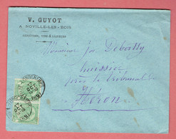 M - Lettre Commerciale A Noville-les-bois 145x110 - Oblitération Leuze-Longchamps Vers Héron Le 17-Oct-1897 Sur N°56x2 - 1893-1900 Fine Barbe