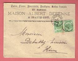M - Lettre Commerciale A Statte-Huy 145x110 - Oblitération Huy-Nord Vers Héron Le 1-Oct-1903 Sur N°56x2 - 1893-1900 Fine Barbe
