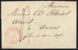 L. Càd GRAMMONT/1845 Pour Anvers (Càd Avec Vaccation 2) - 1830-1849 (Belgique Indépendante)