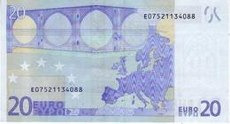 (Billets). 20 Euros 2002 Serie E, R031B2, N° E 07521134088,  Signature 3 Mario Draghi - EURO
