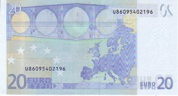 (Billets). 20 Euros 2002 Serie U, L087A2, N° U 86095402196,  Signature 3 Mario Draghi UNC - EURO