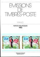 Ministere Ptt : Album Notice Philatelique 1985 ( 40+2 Hs  Notices ) - Vari