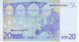 (Billets). 20 Euros 2002 Serie M, U020G2, N° M 8631491794,  Signature 3 Mario Draghi UNC - EURO