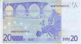 (Billets). 20 Euros 2002 Serie H, R031E3, N° H 58752367515,  Signature 3 Mario Draghi Leger Pli - EURO