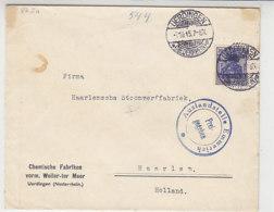 Fa.Brief Aus UERDINGEN 7.10.15 Nach Haarlem / Niederlande  über Auslandstelle Emmerich - Deutschland