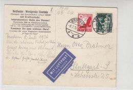 Luftpost-Karte Vom BROCKEN 8.7.36 Nach Stuttgart / Nordhausen - Wernigeroder Eisenbahn Karte - Deutschland